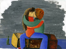 First kiss. Hand-made, gouache Stock Photography