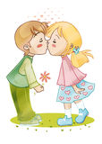 First kiss. Illustration of a tender young couple, two child who exchange their first kiss Stock Photography