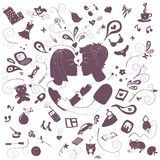 First kiss. Different elements and icons for your design. Nice idea for a gift cards and posters Royalty Free Stock Photo