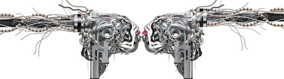 The first Kiss. The first amorous kiss of two cyborgs Stock Images
