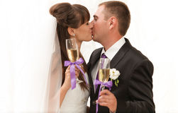 First kiss and champagne Royalty Free Stock Photos