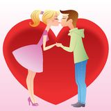 First kiss a girl and boy. Young people kissing on the background of a big red heart royalty free illustration