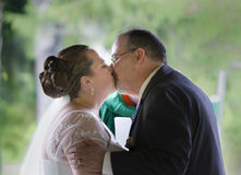 First Kiss of Married Couple Stock Photos
