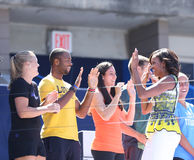 First Lady Michelle Obama joined by professional tennis players at Arthur Ashe Kids Day at Billie Jean King National Tennis Center Royalty Free Stock Photo
