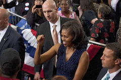 First Lady Michelle Obama. Shakes hands at President Obama campaign rally at Orr Middle School in Las Vegas, October 26, 2012 stock photo