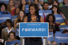 First Lady Michelle Obama. Speaks at an President Obama campaign rally at Orr Middle School in Las Vegas, October 26, 2012 royalty free stock photo