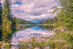 The first lake in the Valley of the Five lakes in Jasper National Park.Alberta.Canada stock image