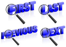 First last previous next order ranking. First last previous next ranking order browse internet page Stock Photos