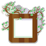 The first leaflets framework. The stylized wooden framework with young branches and the first spring leaflets Stock Images