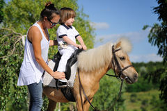 First lessons of horseback riding Stock Images