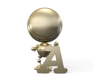 A - first letter of alphabet. Easy learning - A - first letter of alphabet Royalty Free Stock Photo