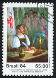 First Letter Mailed in Brazil by Guido Mondin. BRAZIL - CIRCA 1984: stamp printed by Brazil, shows First Letter Mailed in Brazil, by Guido Mondin, circa 1984 royalty free stock image