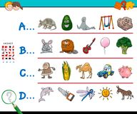 First letter of a word educational game for kids. Cartoon Illustration of Finding Picture Starting with Referred Letter Educational Game Worksheet for Children Stock Photography