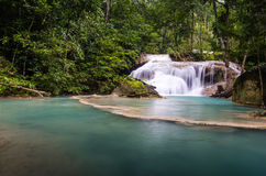 The first level of Erawan Fall. Thailand Stock Photography