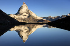 First Light. On the Matterhorn, one of the most beautiful icons of Switzerland, Pennine Alps, Switzerland, Europe stock photography