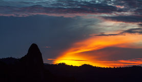 First light in dawn at Bukit Tabur, Malaysia. Royalty Free Stock Photos