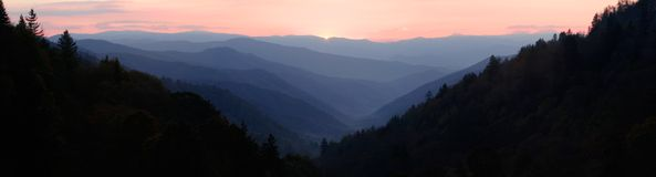 First Light of Dawn Panorama. The first glimpse of sunlight, seen from the heights of Newfound Gap in the Great Smoky Mountains National Park.  A stitched Royalty Free Stock Images