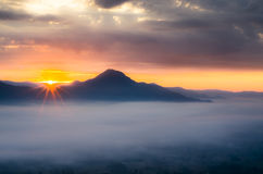 The first light of the day with mist Royalty Free Stock Photo