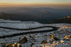 First Light on Mount Evans Road. Mount Evans Road is the highest paved road in the United States.  Idaho Springs, Colorado Stock Photos