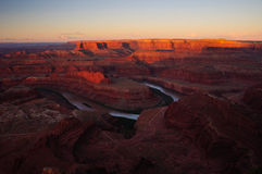 First light over the Colorado River bend. Royalty Free Stock Photography