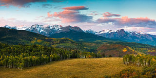 First Light in the San Juan Mountains. Early morning light on the San Juan Mountains of Colorado Stock Image
