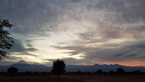 The first light of sunrise in the Atacama Desert, Chile stock photo