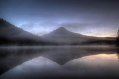First Light at Trillium Lake Royalty Free Stock Photos