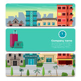 The first line of hotels in a tropical area near the beach. Sale Royalty Free Stock Images