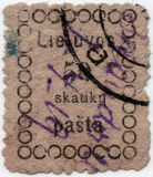 First lithuanian postage stamp Royalty Free Stock Photos