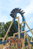 First loop close up on roller coaster Osiris in Park Asterix, Ile de France,  France Royalty Free Stock Photo