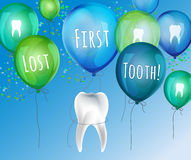 First lost tooth. Beautiful vector illustration  in childish style. Design Idea for a greeting card, certificate, medical poster or leaflet. Editable image in Royalty Free Stock Photo