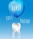 First lost tooth. Beautiful vector illustration  in childish style. Design Idea for a greeting card, certificate, medical poster or leaflet. Editable image in Royalty Free Stock Photography