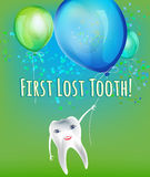 First lost tooth. Beautiful vector illustration  in childish style. Design Idea for a greeting card, certificate, medical poster or leaflet. Editable image in Stock Image