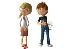 First love. A shy girl and a boy offering a flower illustration Stock Photo
