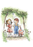 First Love. Dog, boy and girl walking in the park Royalty Free Stock Photo