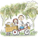 First Love. 2 children are cycling in the park Stock Images