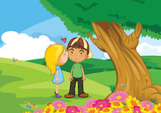 First love. Illustration of girl kissing boy Royalty Free Stock Photography