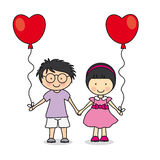 First love. Children with balloons. illustration love Royalty Free Stock Image