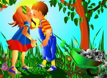 First love. Two kids kissing in a fantastic garden Stock Images