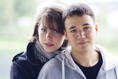 First love. Young man and woman in love for the first time Stock Photo