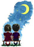 First love. Couple admiring the stars of the night sky Royalty Free Stock Images