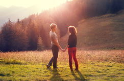 First love couple during high mountain trip Stock Photo