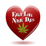 First love. Illustration of marijuana in the heart on a white background Royalty Free Stock Photos