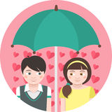First Love. Round illustration of children in love under an umbrella Stock Images