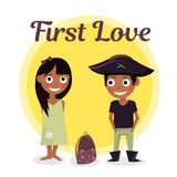 First love at school. The boy wants to help carry briefcase girls. Vector illustration of Valentines Day. Characters schoolchildre. First love at school. The boy Stock Image