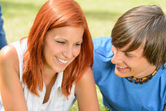 First love teenage couple enjoy sunny day Stock Images
