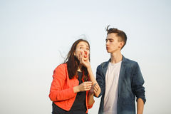 First love. Teenagers on a date. Royalty Free Stock Image