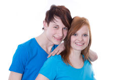 First love. Young couple posing together Royalty Free Stock Images