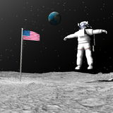 First man on the moon - 3D render. First astronaut on the moon floating next to american flag with earth in the background - Elements of this image furnished by Stock Image