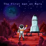 First man in spacesuit exploring red planet mars. Astronaut in spacesuit or first man on red planet mars. Human cosmonaut near rocket or spaceship. Cosmos and Stock Images
